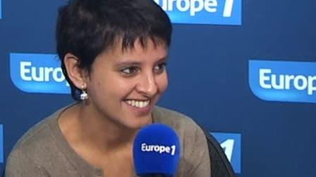La ministre des Droits des femmes Najat Vallaud-Belkacem, le 30 novembre 2012 dans le studio d'Europe1