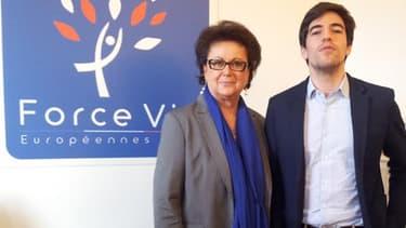 """Christine Boutin et Samuel Lafont dans les locaux de """"Force Vie"""", le """"label"""" présenté aux élections européennes."""