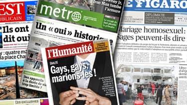 """L'adoption du projet de loi sur le mariahe et l'adoption pour les couples homosexuels constitue un """"moment historique"""" qui garde un """"goût amer"""", estime la presse, ce mercredi matin."""