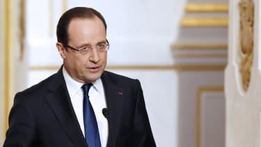 Le président François Hollande présente les grandes lignes du projet de moralisation de la vie politique, le 10 avril 2013 à l'Elysée