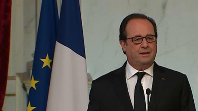 François Hollande lors d'une allocution à l'Elysée huit jours après l'attentat du 14 juillet à Nice.