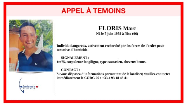 Un homme de 33 ans est recherché dans les Alpes-Maritimes.