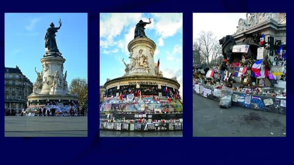 De gauche à droite: le mémorial aux pieds de la statue de la République à Paris le 3 décembre 2015, le 11 février 2016 et le 21 juillet 2016