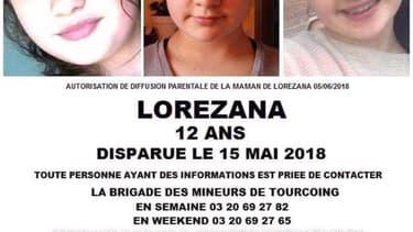 La jeune Lorezana a disparu depuis le 15 mai dernier à Tourcoing
