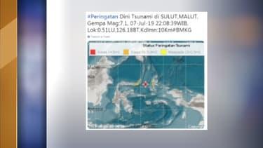 Une alerte au tsunami a été déclenchée ce dimanche à la suite d'un fort séisme au large de la partie orientale de l'Indonésie
