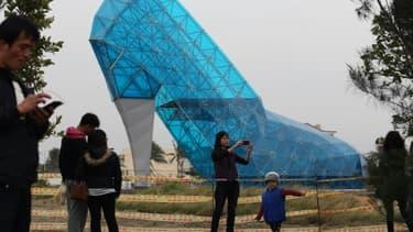 Un soulier de verre géant, le 11 janvier 2016 à Taïwan