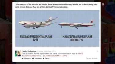 Plusieurs utilisateurs sur Twitter, comme Louise Johnston, ont relayé ce montage photo des deux avions, celui de Malaysia Airlines et celui de Vladimir Poutine, publié par Russia Today.