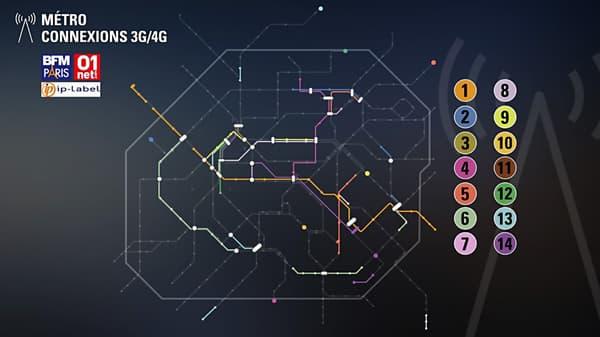 La carte de la couverture 3G et 4G dans le métro parisien.