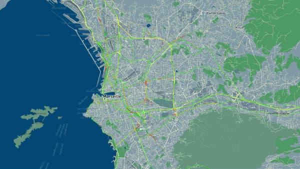 La ville de Marseille le 11 mai à 18 heures, avec très peu de ralentissements enregistrés.