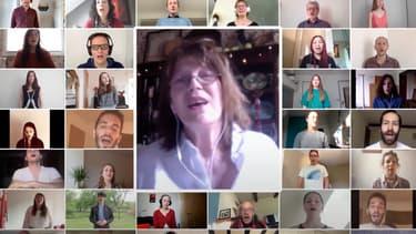 Jane Birkin, accompagnée d'une chorale de 640 internautes