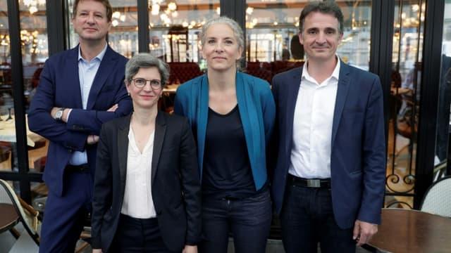 Quatre candidats aux primaires du partie écologique EELV: Yannick Jadot, Sandrine Rousseau, Delphine Batho et Eric Piolle, le 12 juillet 2021 à Paris