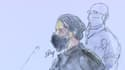 Salah Abdeslam dans le box des accusés ce mercredi au palais de justice de Paris.