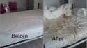 Montage avant/après montrant les dégâts dans son appartement, après trois semaines de location sur Airbnb