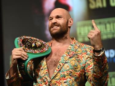 Tyson Fury lors d'une conférence de presse avant son troisième combat contre Deontay Wilder en octobre 2021