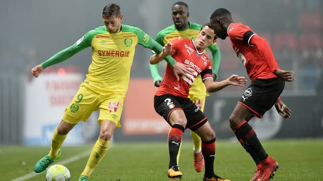 Emiliano Sala face au Stade rennais - AFP