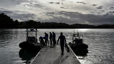 Des recherches au lac d'Aiguebelette le 11 septembre 2017 pour retrouver la petite Maëlys