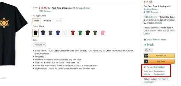 """Le produit porte la mention """"vendu et expédié par Amazon"""""""