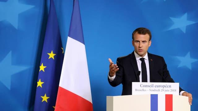 Le président de la République Emmanuel Macron, le 29 juin 2018 à Bruxelles.