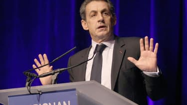 Nicolas Sarkozy en meeting à Perpignan dans les Pyrénées-Orientales jeudi soir.