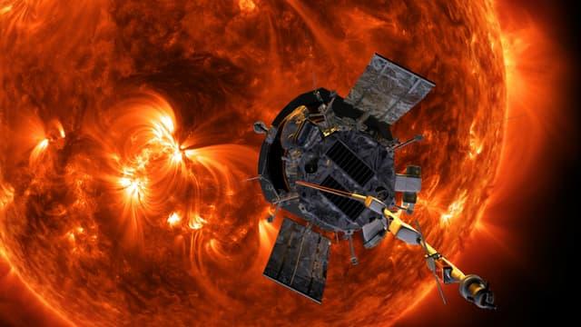 Illustration de Parker Solar Probe approchant le soleil.
