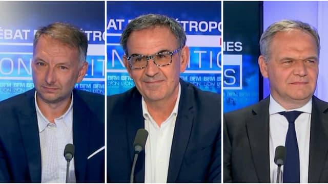 Bruno Bernard, David Kimelfeld, François-Noël Buffet sur le plateau de BFM Lyon.