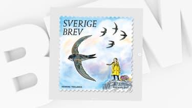 Un timbre à l'effigie de Greta Thunberg, vendu par la Poste suédoise à partir du 14 janvier 2021.