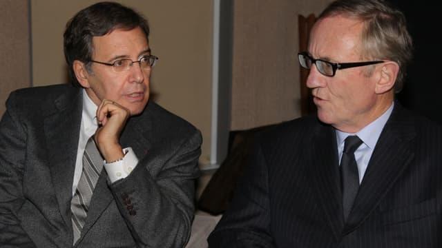 Le patron de TF1 Nonce Paolini et celui de Canal Plus Bertrand Meheut