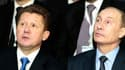Alexei Miller, PDG de Gaspro met Vladimir Poutine, président russe, lors de la cérémonie d'ouverture des travaux du South Stream.
