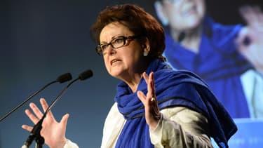 Christine Boutin le 17 mai 2014 lors d'un meeting à Paris, avant les élections européennes
