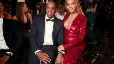 Beyoncé et Jay Z aux Grammy Awards en février 2017.