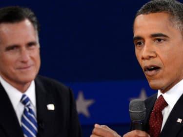 Mitt Romney et Barack Obama lors du deuxième débat, le 16 novembre 2012