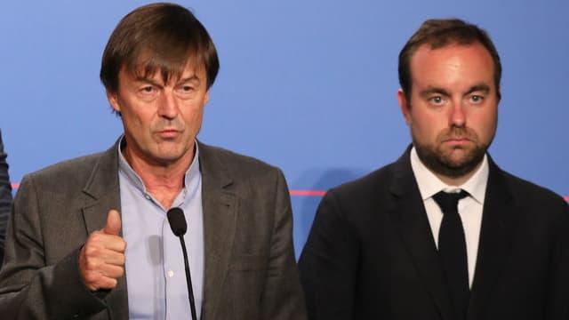 Nicolas Hulot et Sébastien Lecornu lors d'un point presse à l'issue du Conseil des ministres du 7 novembre 2017