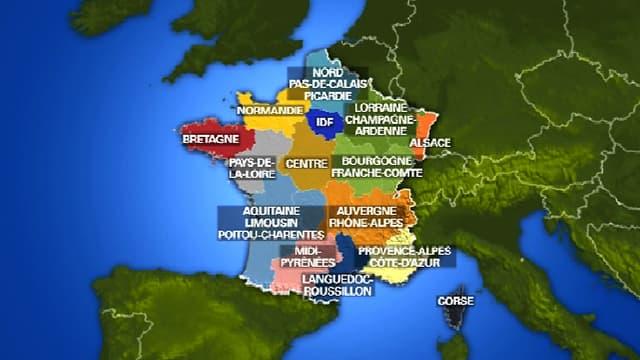 La carte à 15 régions proposée par le Sénat
