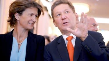 Isabelle Kocher, la directrice générale d'Engie et Alexei Miller, le patron de Gazprom.
