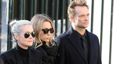 Laeticia Hallyday, Laura Smet et David Hallyday aux obsèques de Johnny Hallyday à Paris, le 9 décembre 2017