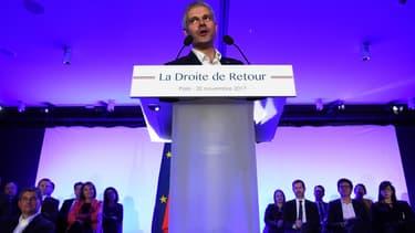 Laurent Wauquiez lors de son meeting à Paris, lundi 20 novembre 2017