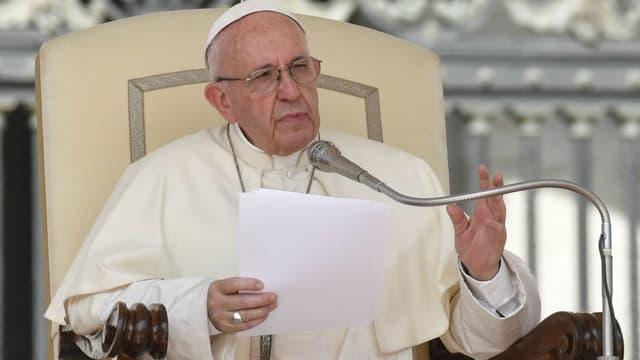 Le pape François lors de sa déclaration hebdomadaire au Vatican, le 30 août 2017