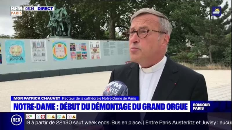 """Démontage du grand orgue de Notre-Dame: """"C'est un travail très délicat"""", assure le recteur de la cathédrale"""