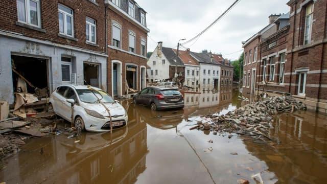 Les dégâts provoqués par des inondations à Pepinster, le 17 juillet 2021 en Belgique (photo d'illustration)