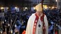 Le cardinal de Paris, monseigneur André Vingt-Trois, sur le parvis de Notre-Dame de Paris, le 22 novembre 2014.