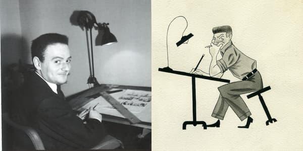 René Goscinny à sa table de dessin / Autoportrait à la table à dessins en 1948