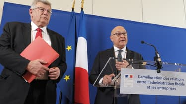Christian Eckert et Michel Sapin lors de la présentation de la liste, ce mercredi 1er avril