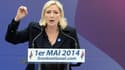 Marine Le Pen place de l'Opéra à Paris jeudi 1er mai.