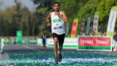 Morhad Amdouni lors du dernier marathon de Paris