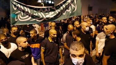 Des manifestants mobilisés devant l'ambassade de France en Israël, samedi 24 octobre 2020