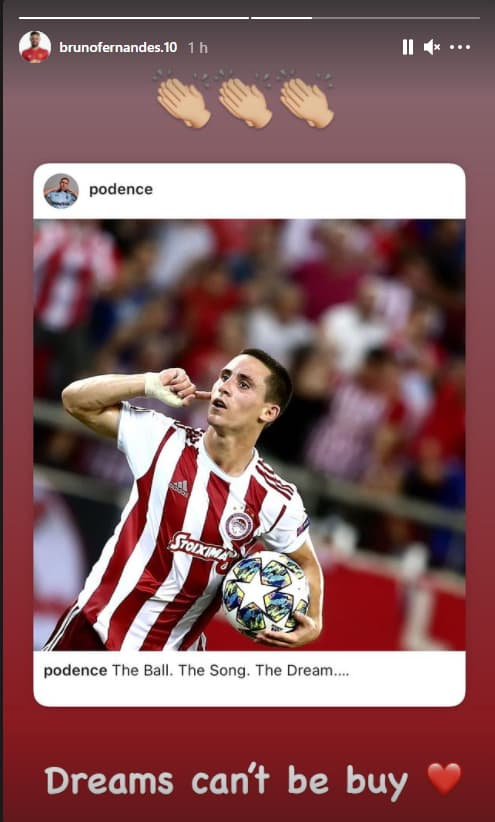 Bruno Fernandes sur Instagram à propos de la Super League