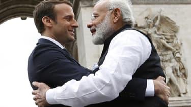 Emmanuel Macron et Narendra Modi, samedi à Paris.