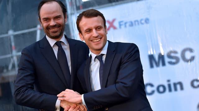 Edouard Philippe et Emmanuel Macron, en février 2016.