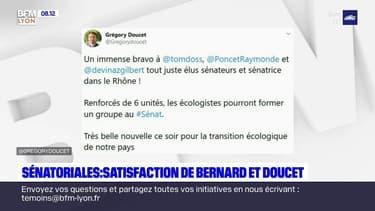 Sénatoriales dans le Rhône: Bruno Bernard et Grégory Doucet félicitent les élus écologistes
