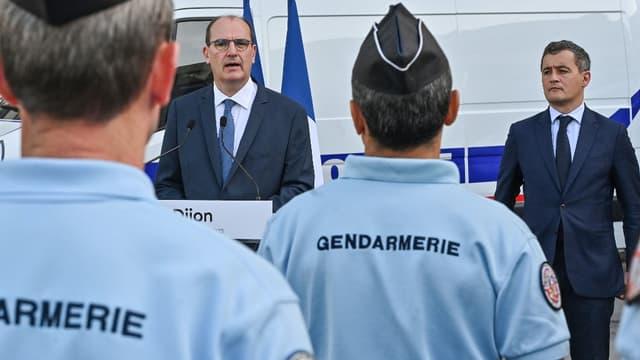 Le Premier ministre Jean Castex et le ministre de l'Intérieur Gérald Darmanin à Dijon le 10 juillet 2020.